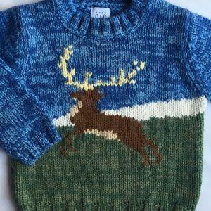 Gap sweater deer buck size 18 24 months blue green